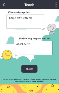 Screenshot of the SimSimi App